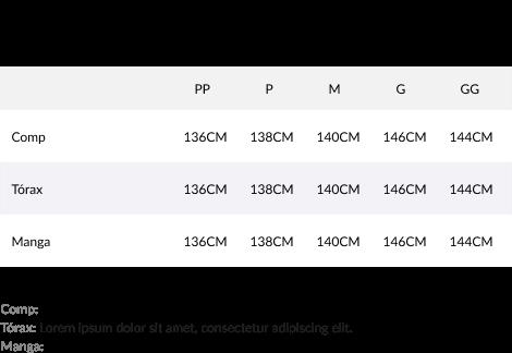 Imagem da tabela de medidas